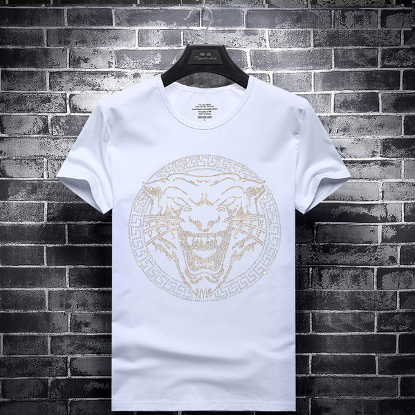 mens designer t shirts t shirt clothes of white clothing white tshirts half sleeve short-sleeved simple tiger head Hot drill
