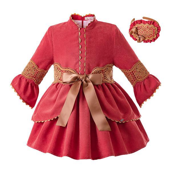 Pettigirl Rouge Dentelle Bébé Fille Robe Col Montant Enfants Robes De Noël Boutique Vêtements De Fille Avec Des Coiffures G-DMGD106-B349