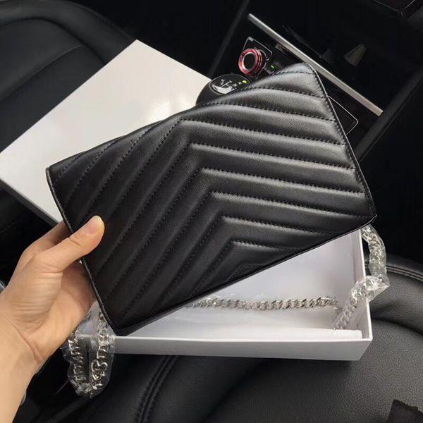 Bolsos de diseño piel de oveja caviar cadena de metal oro plata Bolso de diseñador Bolso de cuero genuino Funda con solapa diagonal Bolsos de hombro con caja