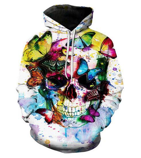 Unisex Butterfly Skull Hoodies 3d Print Casual Hoodie Men Women Clothing Harajuku Style Pullover Jackets Brand Quality Coat YR0151