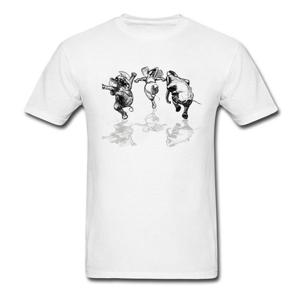 Wanna Dance? 2018 Men Funny White T-shirts Three Dancing Elephants Print On Male Tops Mens T Shirt Simple Casual