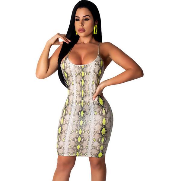 Seksi Spagetti Kayışı Elbise Kadın Bodycon Mini Neon Yeşil Yılan Baskı Zarif Ince Backless Elbise Yaz Kısa Parti Elbise
