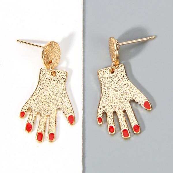 Yeni Kişiselleştirilmiş Kırmızı Çiviler Plam Şekilli Küpe Kız Kadınlar Parti Bijoux Tiny Altın Gümüş Renk Parmak El Dangle Küpe