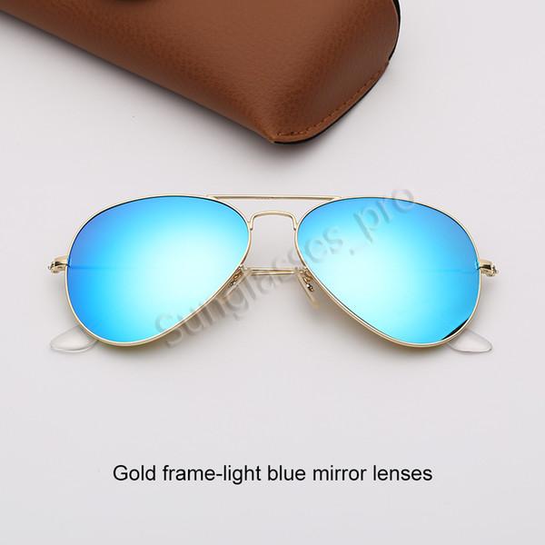 Altın çerçeve-açık mavi ayna lensleri