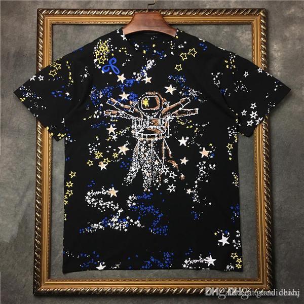 19ss Marcas famosas París universo de estrellas estampado spaceman camiseta Camiseta de moda de alta calidad camisetas hombres mujeres tops de algodón