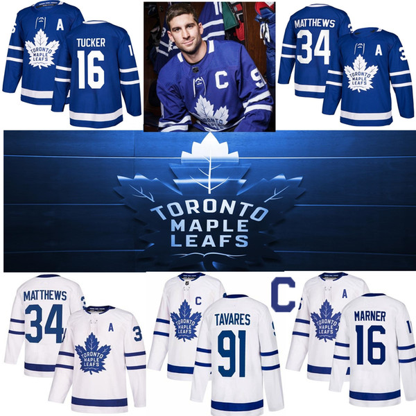 Toronto maple leaf 91 john tavare jer ey with c patch 34 au ton matthew 16 mitchell marner 31 frederik ander en blue hockey jer ey, Black;red