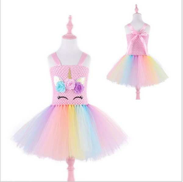 2019 INS Baby Girls Rainbow Skirt Children Unicorn Princess Dresses Kids Cartoon Colorful Bubble Skirt Cosplay Prom Dress Performing Clothes