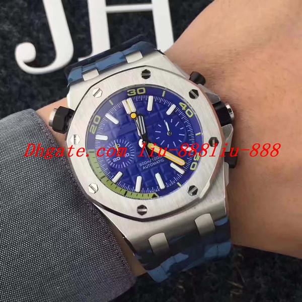 TopSelling 클라이밍 다이버 크로노 그래프 시계 26703 JF 3124 무브먼트 블루 다이얼 42mm 블루 고무 스트랩 자동 럭셔리 남성 시계 시계