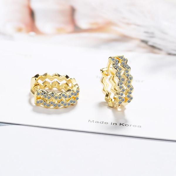 KOFSAC 2019 vendita calda orecchini a cerchio per le donne 925 gioielli in argento sterling zircone doppio strato onda orecchino d'oro regali anniversario