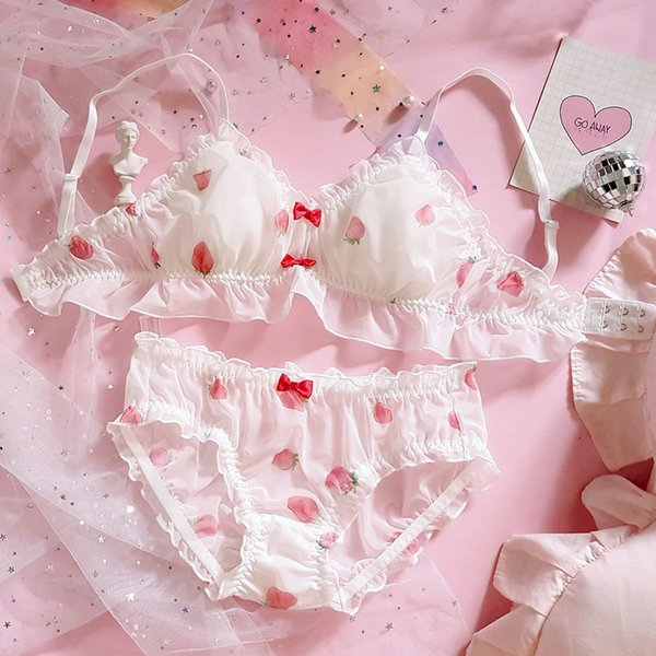 Japonais mignon fraise en mousseline de soie Soutien-gorge culotte Set Volants Garniture Wirefree Sous-vêtements doux sommeil Intimates Set Kawaii Lolita Bras