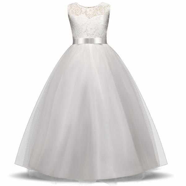 High-end Girls Wedding Party Flower Girl Dress abiti da damigella d'onore Princess Gowns Teen Girl White Tulle Abiti da sera 5 14 Y Q190522