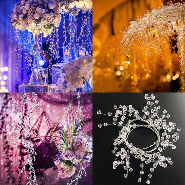 Luxurious Handmade Crystal Rattan For Wedding Decorations Chandelier 1.2M Diamond Acrylic Wire Rhinestone Beaded Party Table Flower Supplies