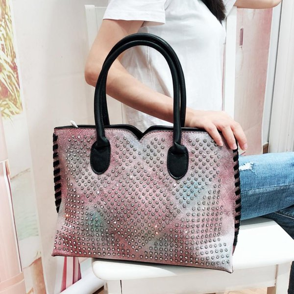 Glitter Diamond Top-handle Bag Women Crystal Rivet Iridescent TIE DYE PU Leather Handbag Female Stylish Lady Big Messenger Bag