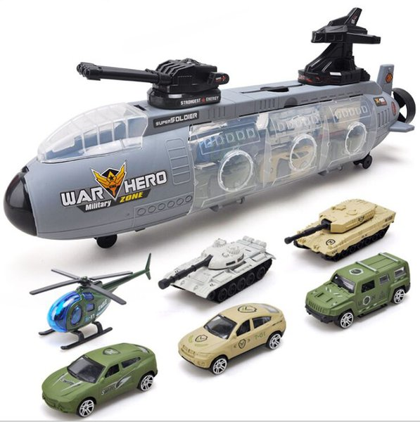 top popular 6 PCS Sports Car Models And 1 PCS Submarine Model Children Toy Pretending Military ActionSliding Toy With Mini Trailer Toy 2021