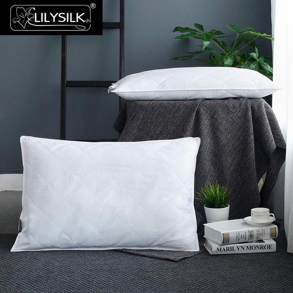 LilySilk Silk Lined Pillow Washable Cotton Covered for sleeping Height 16cm Clearance Sale 60x60cm Free Shipping