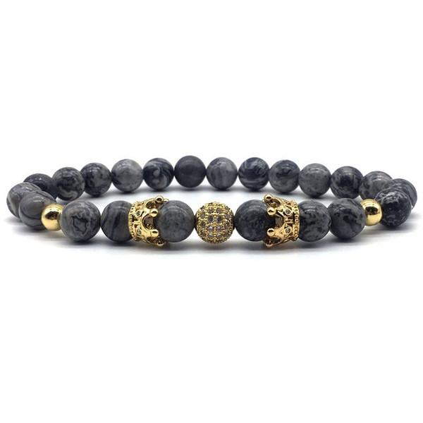 New Fashion Crown Bracelet Men Women couples Jewelry silver /golden double Crown 8mm CZ Ball Beads charm Bracelets Male Female