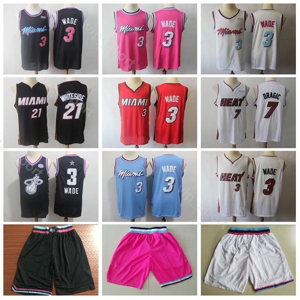 reputable site 6f321 eb540 2019 Miami Vice City Earned Edition Dwyane Wade Jersey 3 Heat Basketball  Goran Dragic 7 Hassan Whiteside Jerseys 21 Short Red Black White From ...