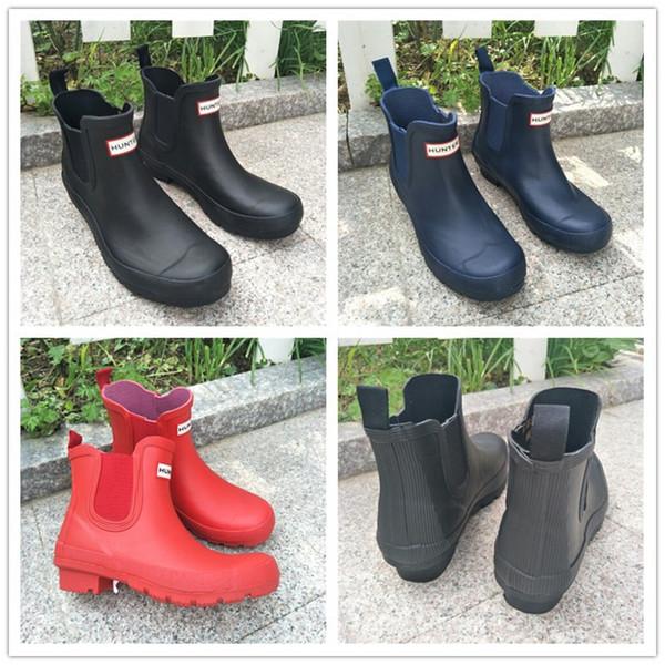 Unisex Su Geçirmez Çizmeler Erkek Kadın Ayak Bileği Rainboots Ünlü Marka Antiskid Yağmur Çizmeleri Kauçuk Su Ayakkabı Açık Rainshoes Sürme Çizmeler Moda