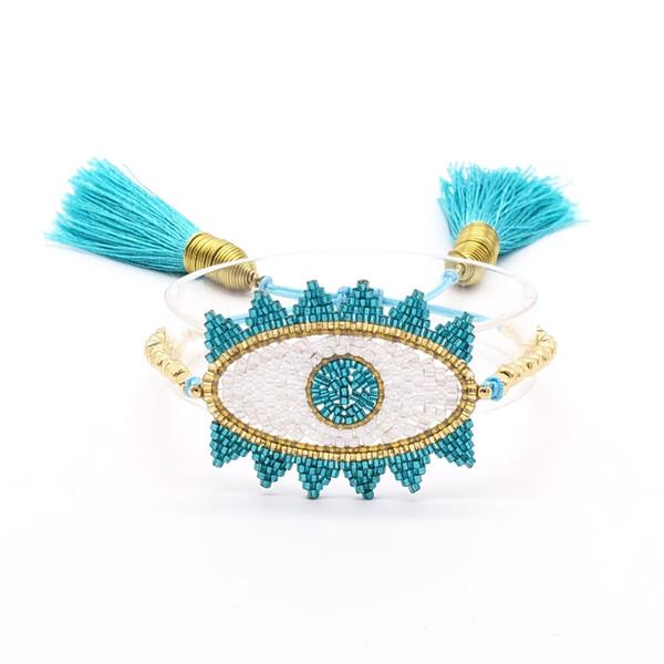 2019 new fashion tassel bracelet blue Turkish E evil eye Miyuki hand-woven BlueEye devil eye bracelet