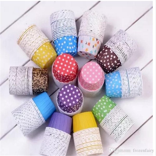 Big size 10,000Pcs Baking Cups Cute Dots Solid Color Paper Cake Christmas Wedding Beautiful Design Greaseproof Paper Cupcake Cases2017092103