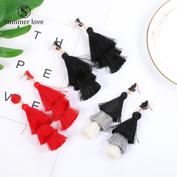 top popular New Arrival Bohemian Long Earring Tassel Dangle Earring for Women Colorful Polyester Filament Fashion Jewelry Gift 2019 2021