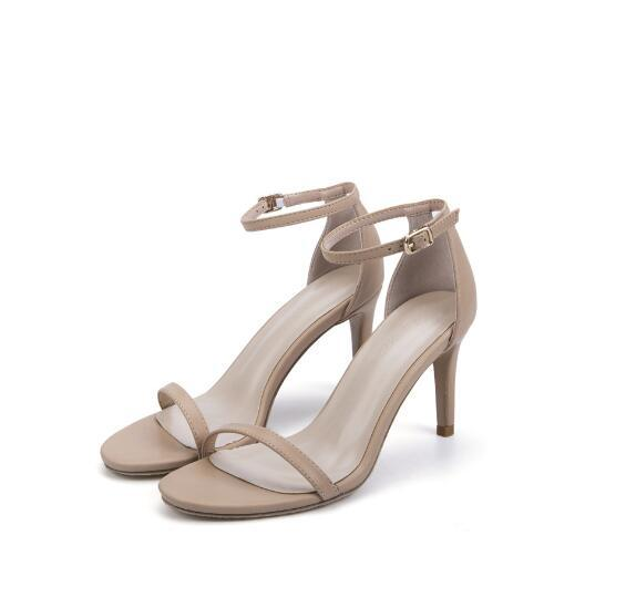 Summer new high heel fine high color black leather sexy Europe and America thin belt open toe word buckle sandals women's shoes