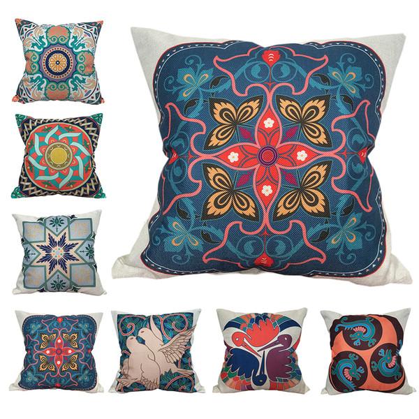 CURCYA Abstrato Geométrica Flores Capas de Almofada Decorativa Art Birds Throw Pillow Covers Sofá Quadrado Fronha