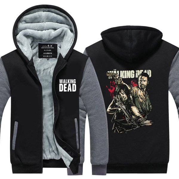 Men Casual Thicken Hooded Sweatshirts The Walking Dead Daryl Dixon Print Cotton Zipper Hoodies Winter Cardigan Jacket Coat USA EU Size
