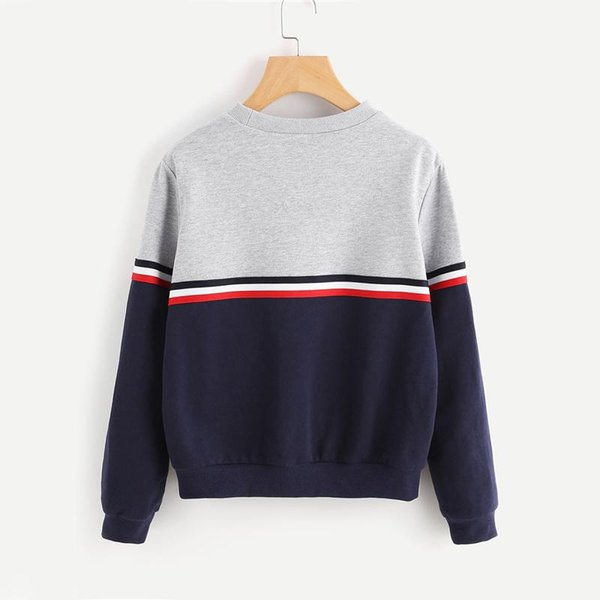 striped woven tape detail two tone sweatshirt women casual pullovers color block long sleeve sweatshirts new breathable
