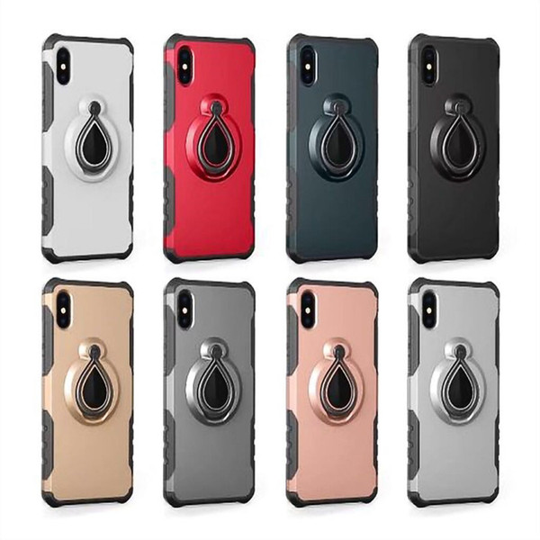 360 Degree Finger Ring Case PC Back TPU bumper Shell Magnet Car Holder Cases for iPhone 8 PLUS XR X MAX For Samsung