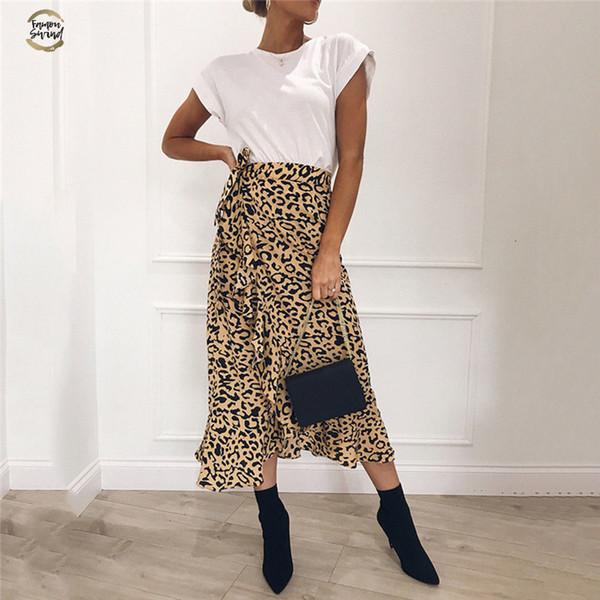 Sexy Mulheres Verão Lace Up Saias Moda cintura alta Ruffles solto Magro longo wrap saia 2019 New Ladies Leopard Outwear Roupas