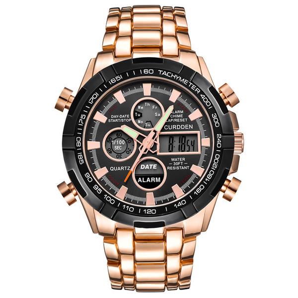 ISHOWTIENDAMenStainlessSteel Orologio sportivo con doppio display analogico digitale LED da polso Nuovo orologio di lusso all'ingrosso *