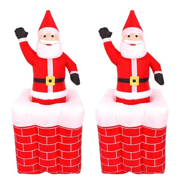 1.6m santa claus chimney inflatable toy outdoors xmas decor arch ornament for santa claus a christmas kids gift decorations