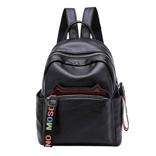 2019 Vintage Women Backpack For Teenage Girls School Bags Large Backpacks High Quality Pu Leather Black Brown Bag Mochilas Mujer