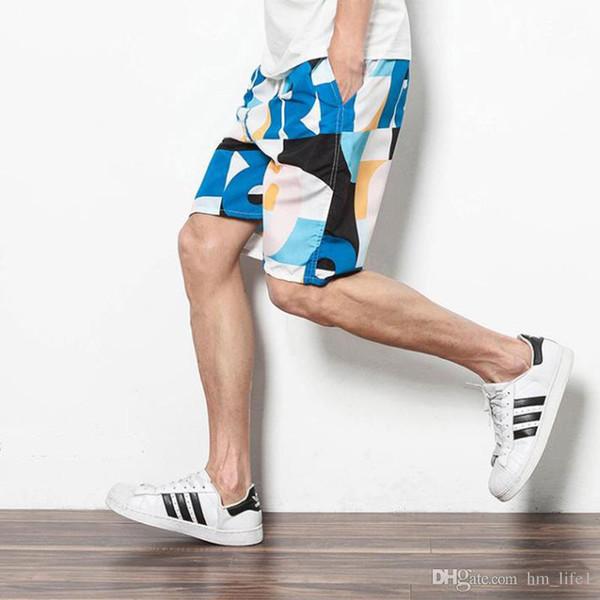 Men'S Shorts Summer Sports Beach Pants Swimming Shorts Quick-Drying Pants Long Casual Shorts 100% Cotton Relaxed Drawstring Five Pants