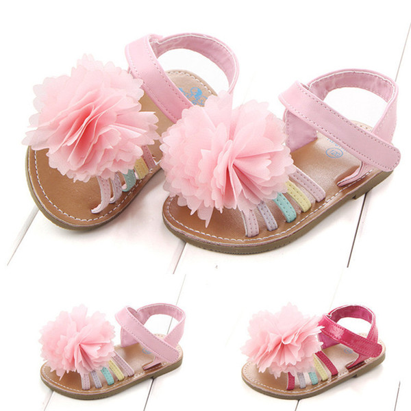 Summer Baby Girls Sandals Fashion Children Kids Baby Girls Solid Floral Soft Sole Anti-slip Princess Shoes Girl Sandals M8Y12#F
