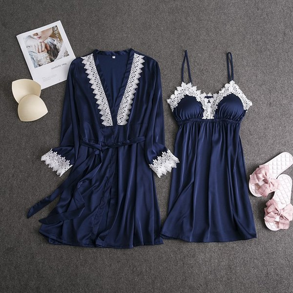 2019 New Women Sexy Lace Gown Sets Fashion Solid V-Neck Spaghetti Strap Nightdress Spring Female Fake Silk Robe Suits
