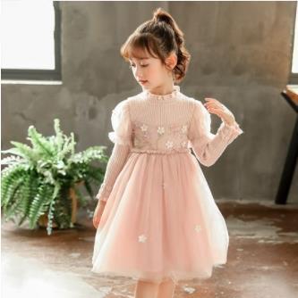 Meninas Vestido de malha pequeno fresco Outono E Inverno além de veludo Flor Yarn Net saia Crianças Sweater costura Fios Skirt