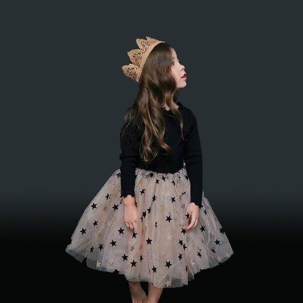 2019 Spring Stars Print Children Girls Clothes For Girls Tutu Dress Kids Girls Party Wear Clothing Ball Gown 1-6y J190505