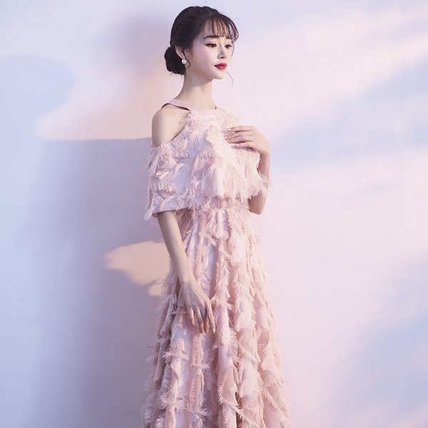 90b916f33b Elegant Pink Evening Dress With Jacket Halter Off Shoulder Feather Long Formal  Dress Luxury Special Occasion Dresses Plus Size Y19042701