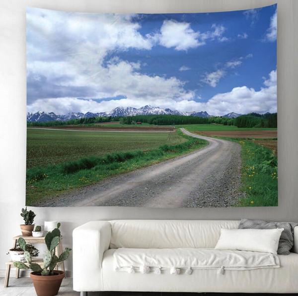 Paisaje del camino 3D patrón creativo tapiz Ployester colgante de pared para la decoración de la pared tela tela de fondo de casa esteras de yoga H407