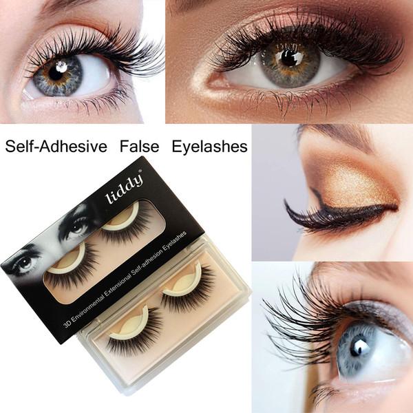 Liddy 3D Self Adhesive Eye lashes False Eyelashes Extension Reusable Self-Adhesive Natural Curly Eyelashes Self Adhesive Eye lashes Makeup