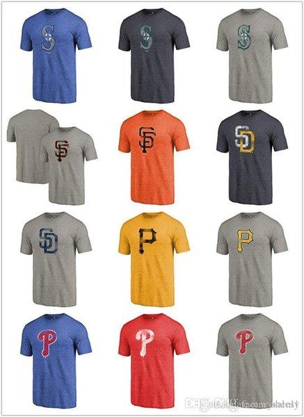 Algodão venda Quente NOVO 2019 Homens Phillies Piratas Marinheiros Padres Gigantes Afligidos Equipe Tri-Blend Camiseta