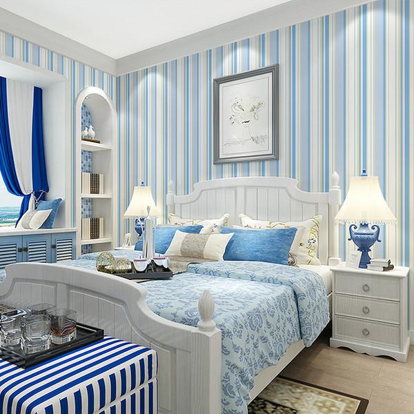 Mode Vlies Rosa Blau Gestreifte Tapete 3D Moderne Wohnzimmer Wasserdicht Strukturierte Streifen Tapetenrollen