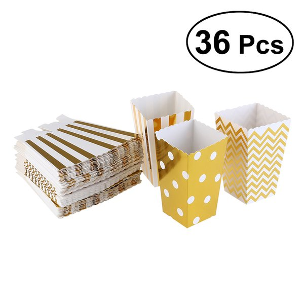 36pcs Paper Popcorn Boxes Bags Container Popcorn Box Party Favors Supplies Pop Corn Box Snack Boxes Birthday Baby Shower