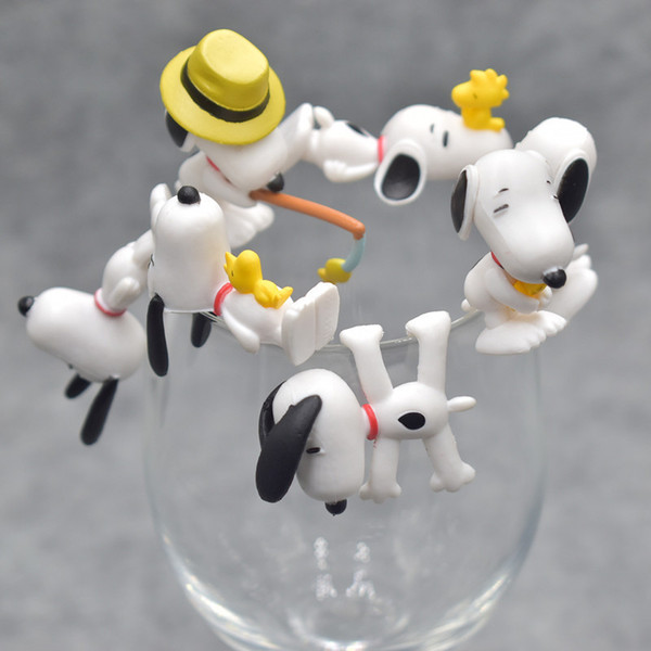 7pcs/set Peanuts Charlie Brown Cup Edge Figure Model Dolls Kids Friend Birthday Gift Wedding Christmas New Year Gifts For Guests Q190426