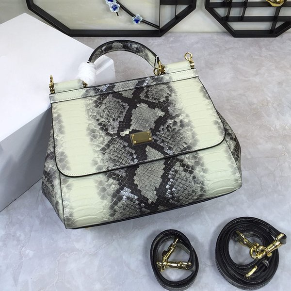 Fashion Snake Skin Women Handbags PU Leather Totes Bag Top-handle Embroidery Crossbody Shoulder Bag Lady Simple Style Hand Bags