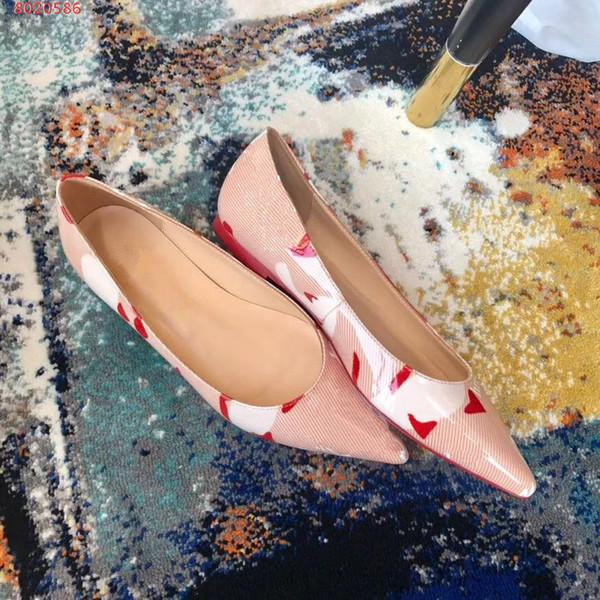 Mulheres por atacado sandálias famosa marca de fundo vermelho sapatos de vestido de festa de casamento de salto plana. bombas de alta qualidade moda senhora imprime sapatos único