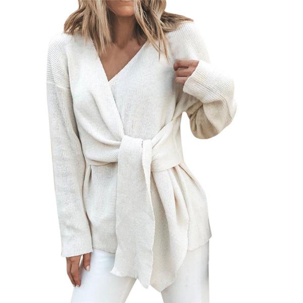 JAYCOSIN 2019 Maglione autunno donna Maglione scollo a V moda Maglione donna tinta unita allentato manica lunga maglioni casual allacciati