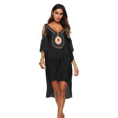 Bohemian Boho vestido do verão bordados Mulheres Batwings luva Beach Dress Sexy V-neck soltas Verão assimétrico Vestido